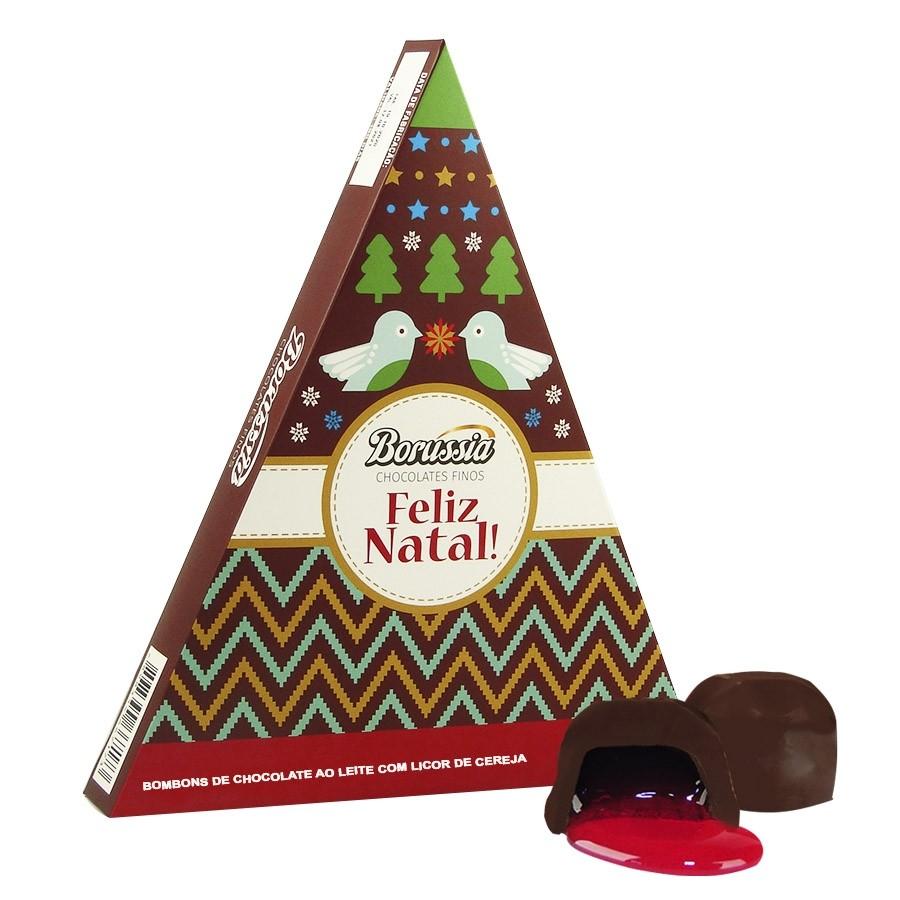 Caixa de Natal Triângulo com 10 Bombons de Cereja Borússia Chocolates