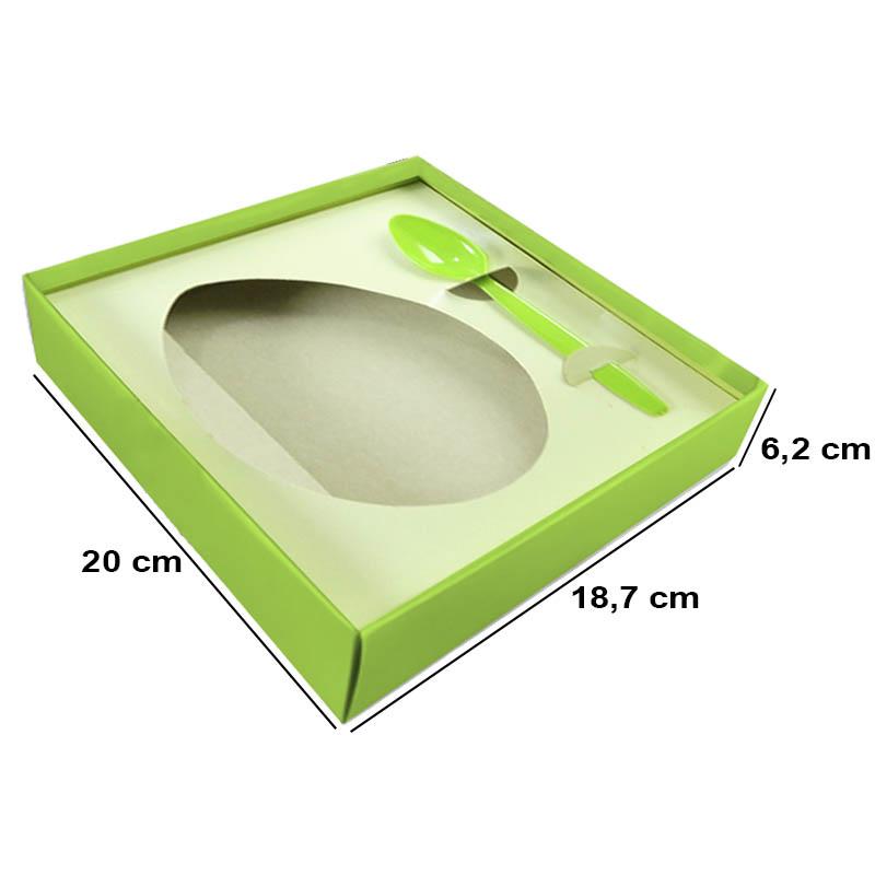 Caixa para Ovo de Colher Grande 500g Verde Listrado Kaixote