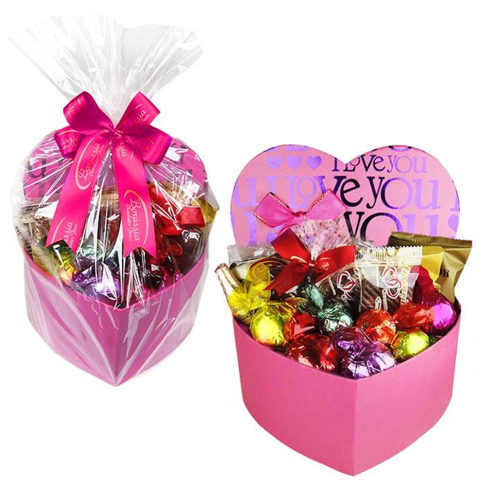 Caixa Presente Coração Grande Rosa com Chocolates Variados Borússia Chocolates