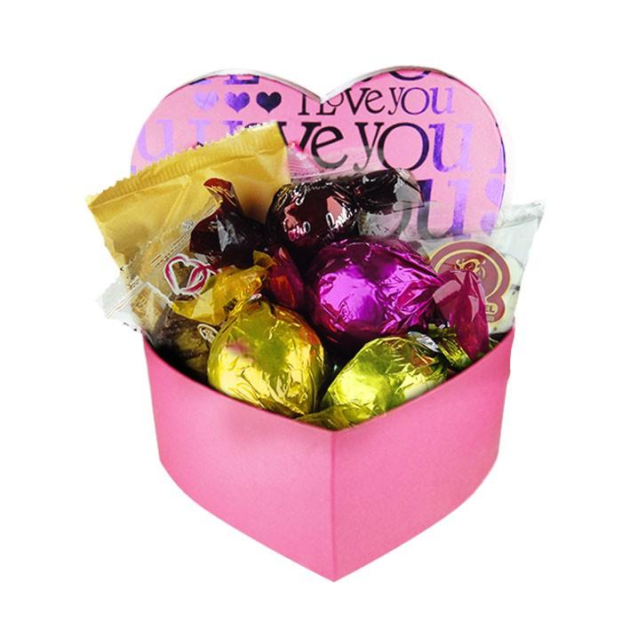 Caixa Presente Coração Pequena Rosa com Chocolates Variados Borússia Chocolates