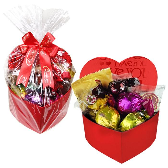 Caixa Presente Coração Pequena Vermelha com Chocolates Variados Borússia Chocolates