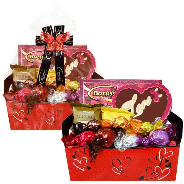 Caixote Amor com Chocolates Variados Borússia Chocolates
