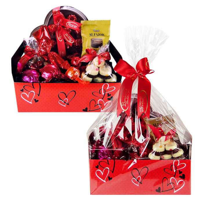 Caixote com Chocolate Corações de Amor Borússia Chocolates