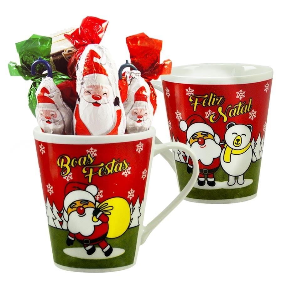Caneca de Natal com Chocolates Modelo 1 Borússia Chocolates