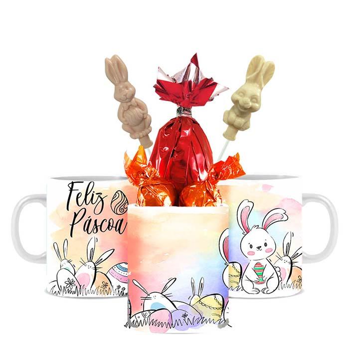 Caneca de Páscoa com Chocolates Modelo 3 Borússia Chocolates