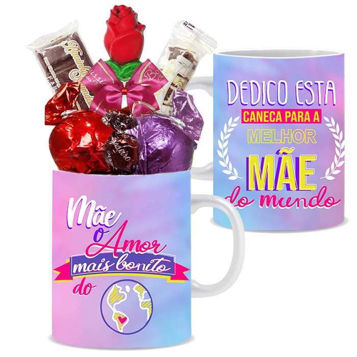 Caneca Dia das Mães com Chocolates Modelo 2 Borússia Chocolates