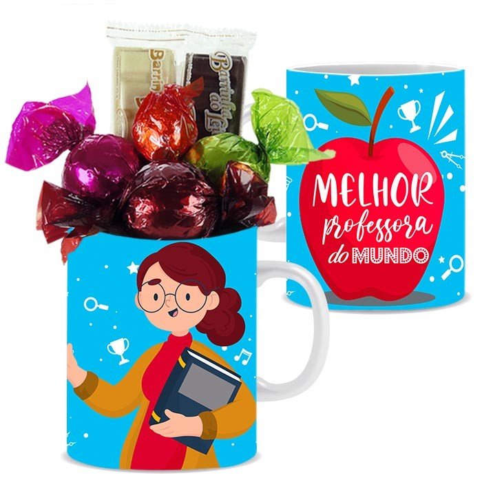 Caneca Dia dos Professores com Chocolates Modelo 4 Borússia Chocolates
