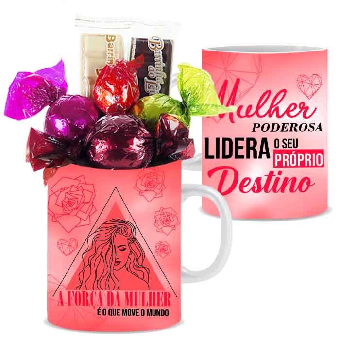 Caneca Exclusiva para Mulher com Chocolates Borússia Chocolates