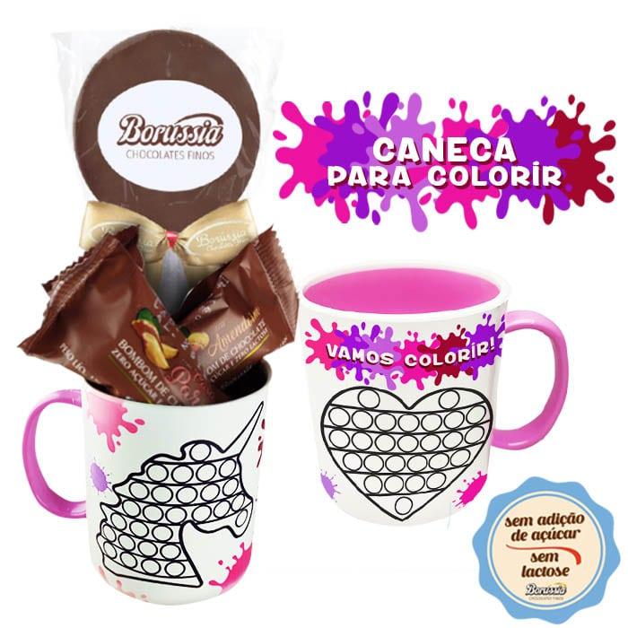 Caneca para Colorir com Chocolates sem Adição de Açúcar e sem Lactose Borússia Chocolates