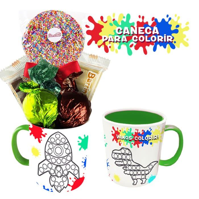 Caneca para Colorir com Chocolates Variados Borússia Chocolates
