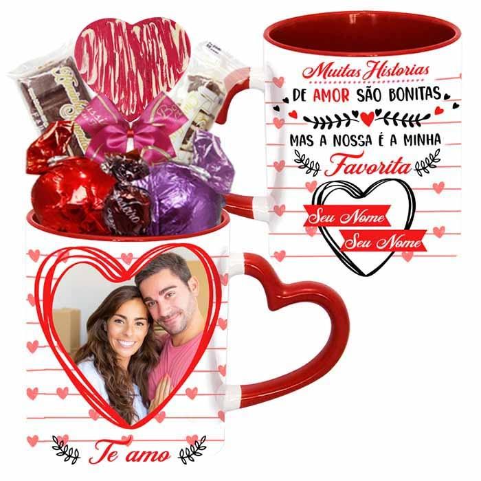 Caneca Romântica Personalizada com Chocolates Modelo 1 Borússia Chocolates