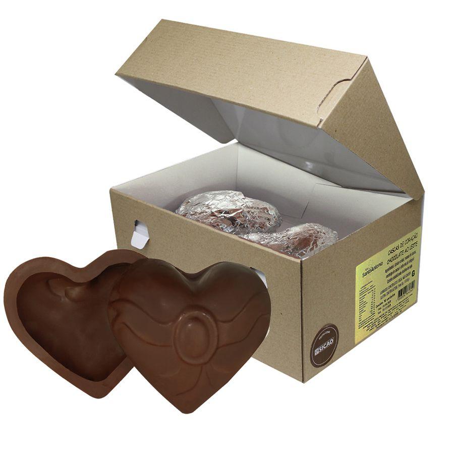 Casca de Coração Grande Chocolate ao Leite Sicao Caixa com 1.010g (8 unidades)
