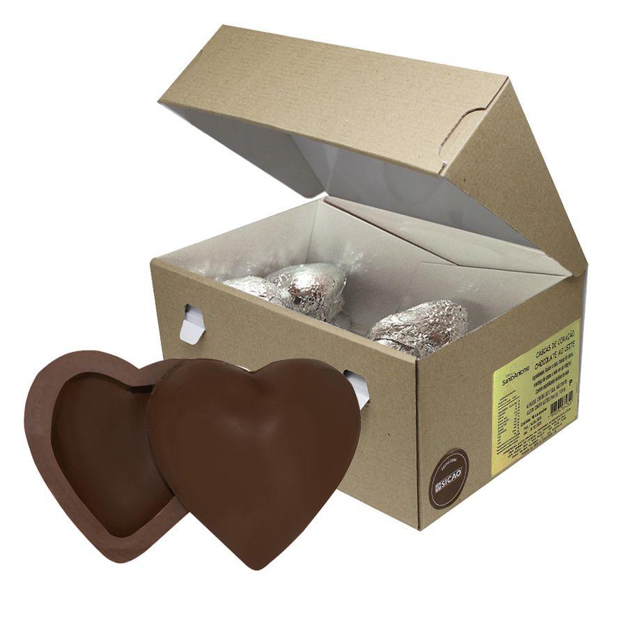 Casca de Coração Pequena Chocolate ao Leite Sicao Caixa com 1.010g (16 unidades)