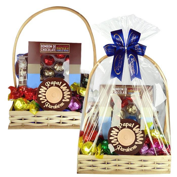 Cesta Dia dos Pais Média com Chocolates Variados Borússia Chocolates
