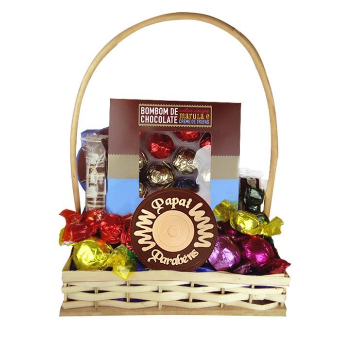 Cesta com Chocolate Dia dos Pais Borússia Chocolates