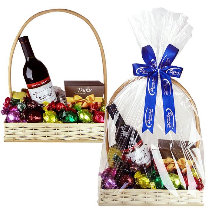 Cesta com Chocolate e Vinho Dia dos Pais Borússia Chocolates