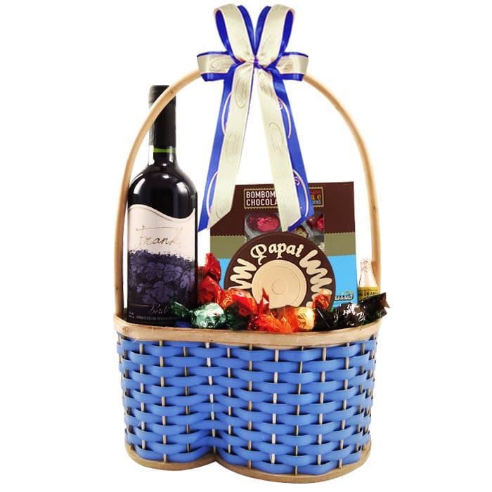 Cesta Dia dos Pais com Chocolates e Vinho Bordô Borússia Chocolates