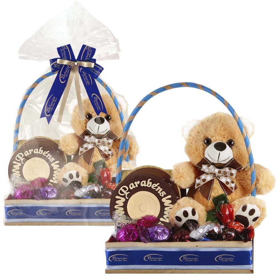 Cesta de Aniversário Azul com Chocolate e Ursinho Borússia Chocolates