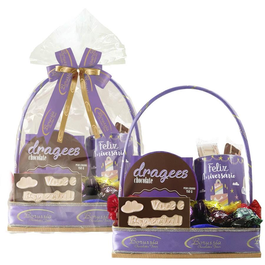 Cesta de Aniversário com Chocolate e Caneca Tipo 4 Borússia Chocolates