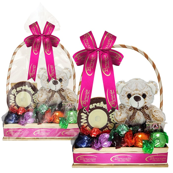 Cesta de Aniversário Rosa com Chocolate e Ursinho Borússia Chocolates