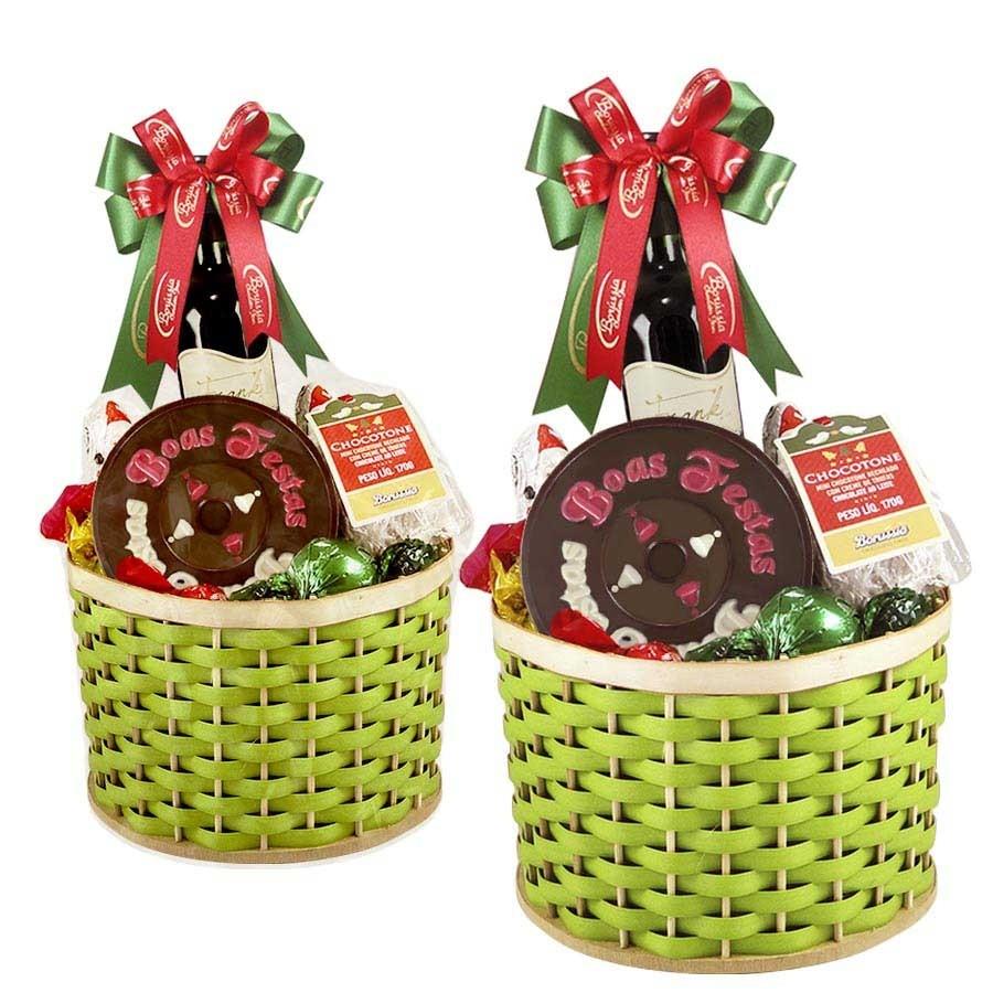 Cesta de Boas Festas Verde com Chocolates e Vinho Borússia Chocolates