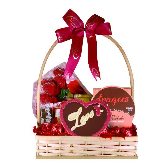 Cesta de Chocolate Amor Dia dos Namorados Borússia Chocolates