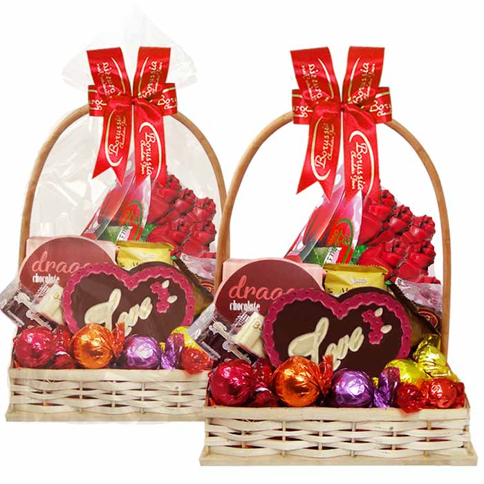Cesta Romântica com Chocolates Variados Borússia Chocolates