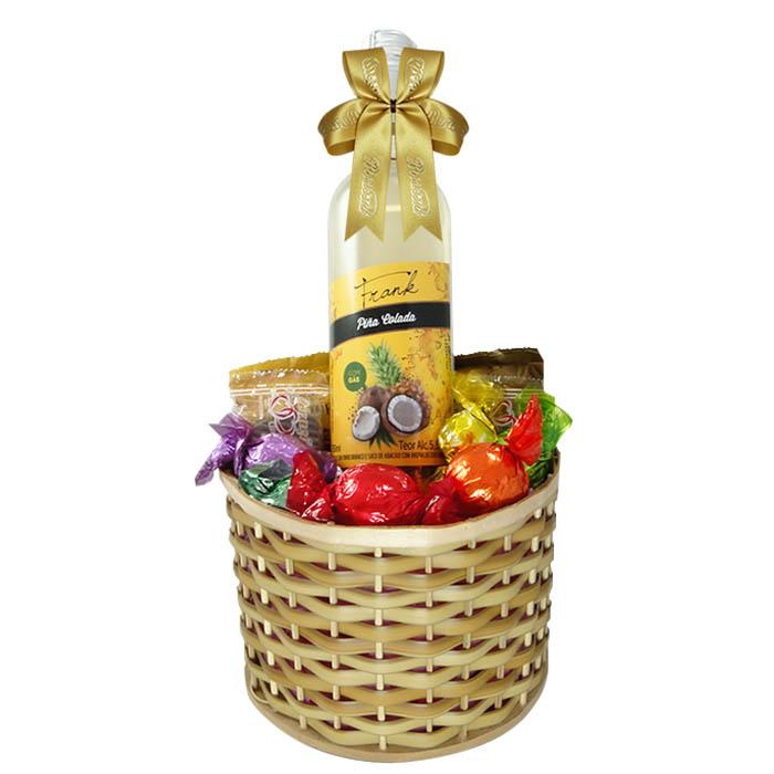 Cesta de Chocolate com Vinho Borússia Chocolates