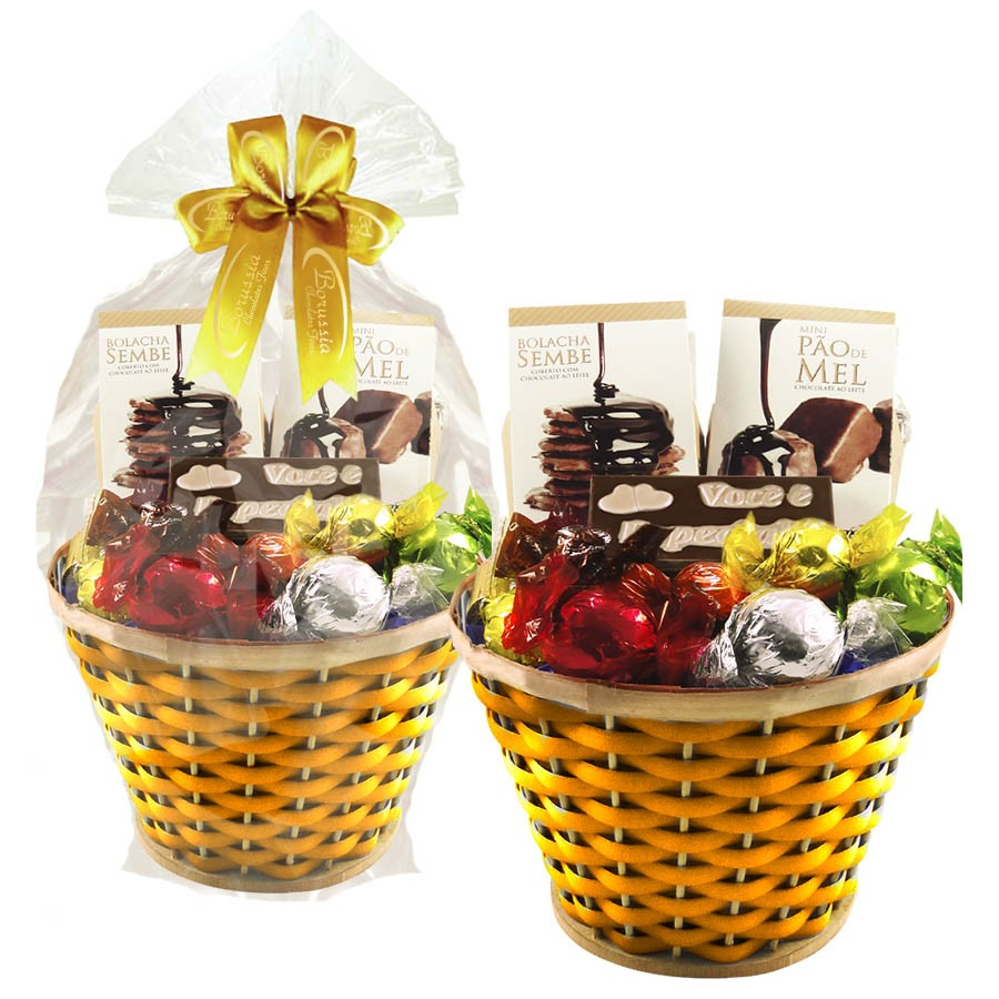 Cesta de Chocolates Carinhosa Amarelo Borússia Chocolates