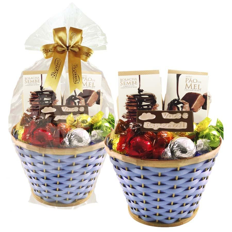 Cesta de Chocolates Carinhosa Azul Borússia Chocolates