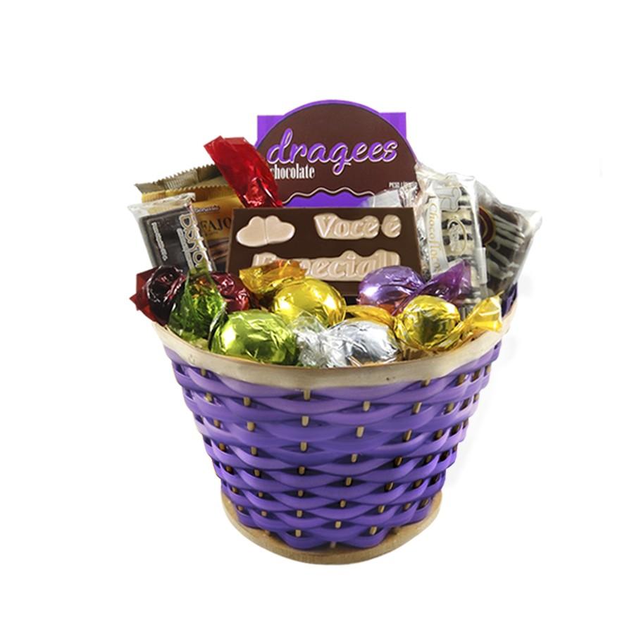 Cesta de Chocolates Carinhosa Roxo Borússia Chocolates
