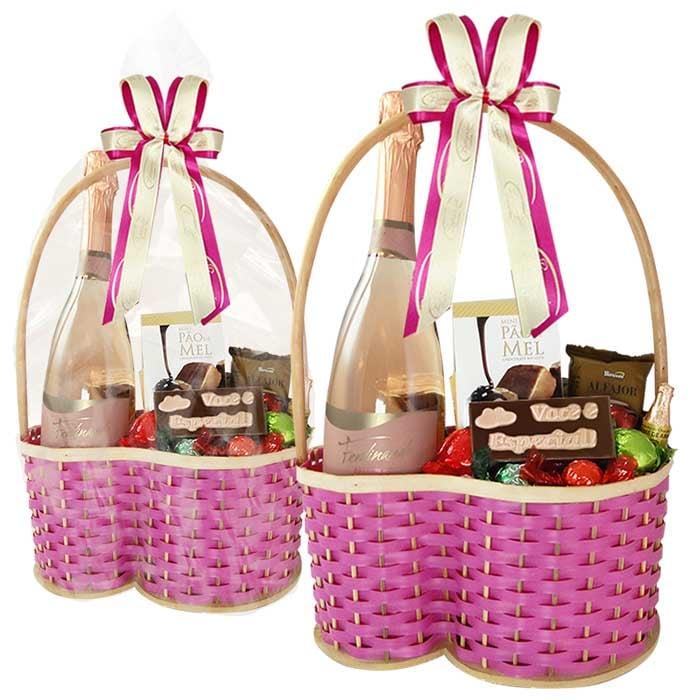 Cesta de Chocolates Variados com Espumante Borússia Chocolates