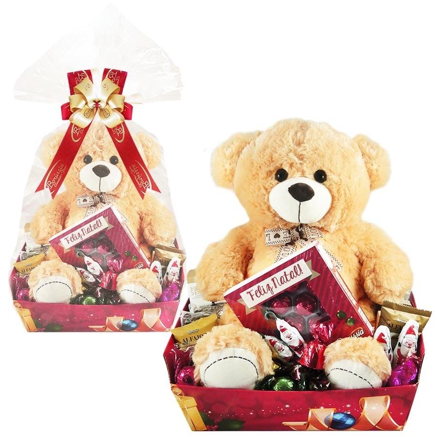 Cesta de Natal com Chocolates e Ursinho Borússia Chocolates