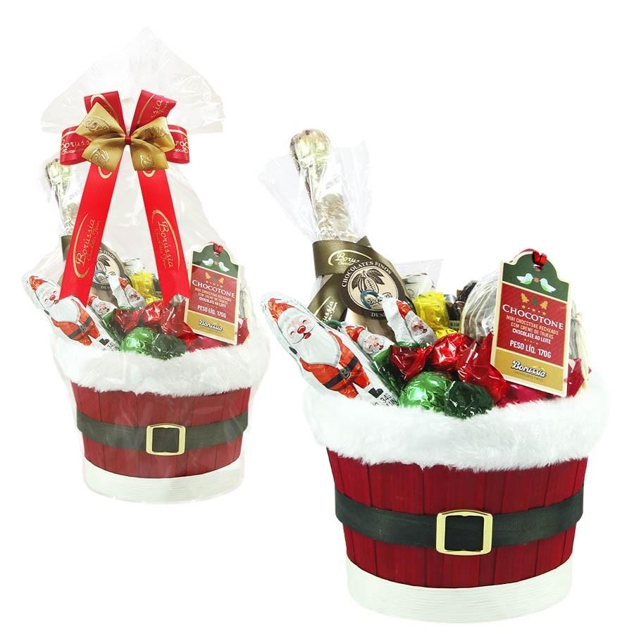 Cesta de Natal Decorada com Chocolates Borússia Chocolates