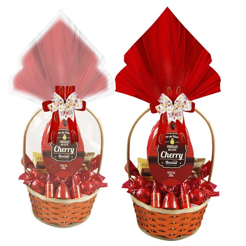 Cesta de Páscoa Cherry Borússia Decorada Chocolates