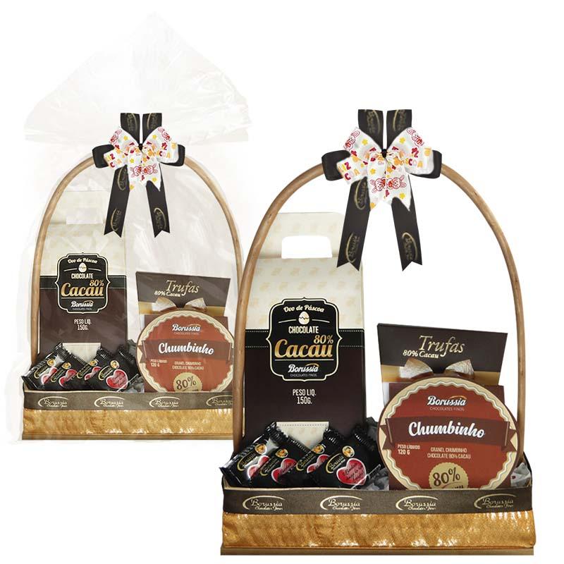 Cesta de Páscoa com Chocolate Amargo Borússia Chocolates