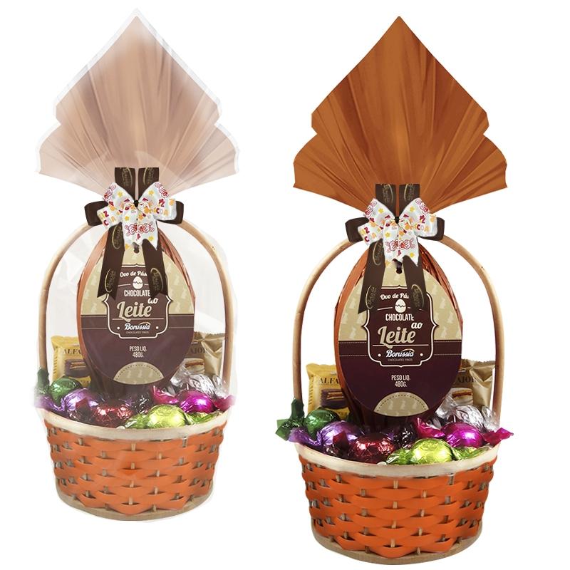 Cesta de Páscoa com Chocolate ao Leite Decorada Borússia Chocolates