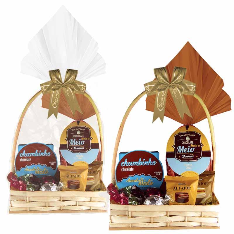 Cesta de Páscoa com Chocolate Meio a Meio Borússia Chocolates
