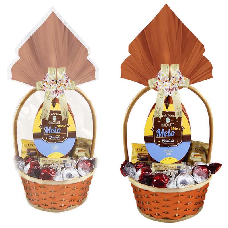Cesta de Páscoa com Chocolate Meio a Meio Decorada Borússia Chocolates