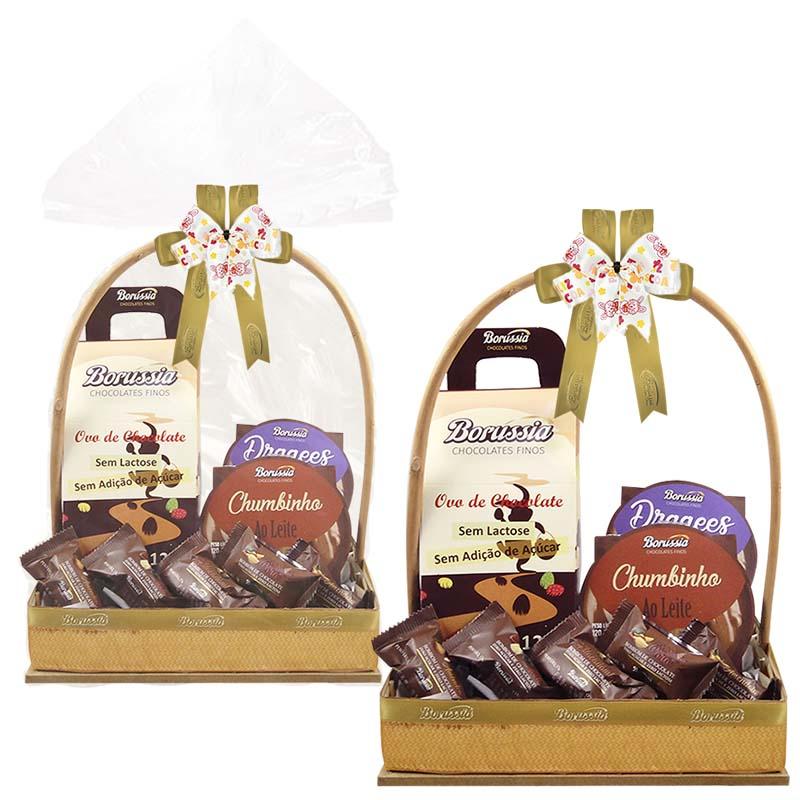 Cesta de Páscoa com Chocolate sem Adição de Açúcar / sem Lactose Borússia Chocolates