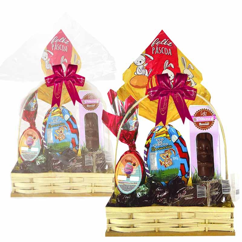 Cesta de Páscoa Infantil Rosa Borússia Chocolates