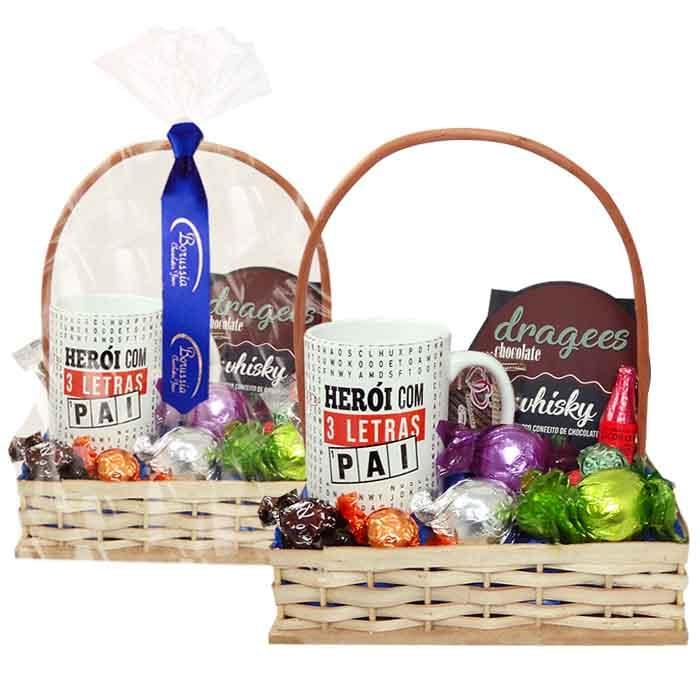 Cesta Dia dos Pais com Chocolates e Caneca Borússia Chocolates