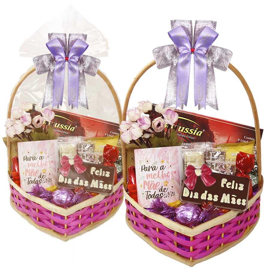 Cesta Feliz Dia das Mães com Chocolates e Caneca Borússia Chocolates