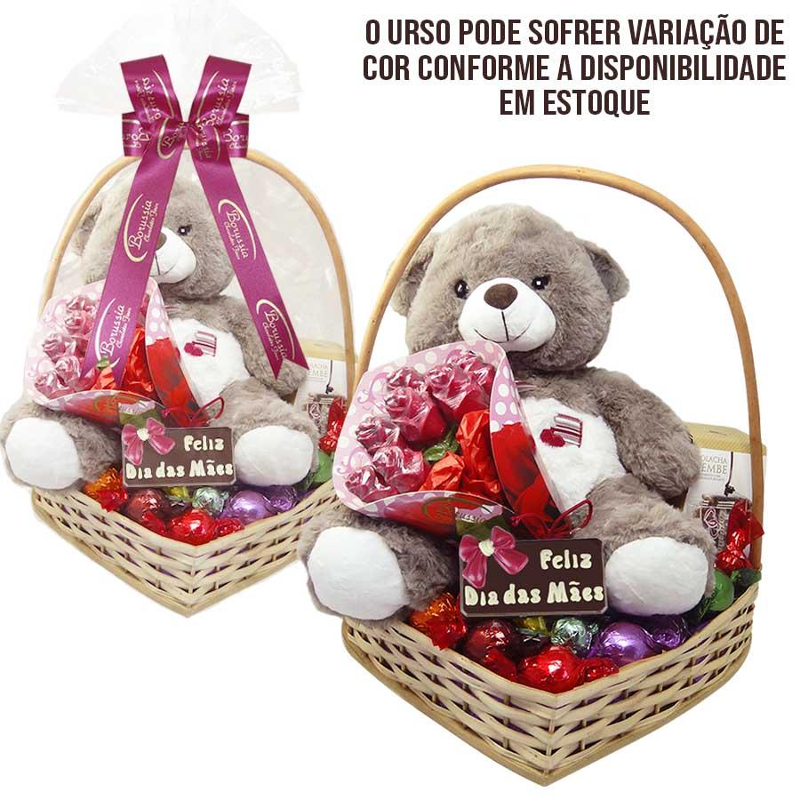 Cesta Feliz Dia das Mães com Chocolates e Ursinho de Pelúcia Borússia Chocolates
