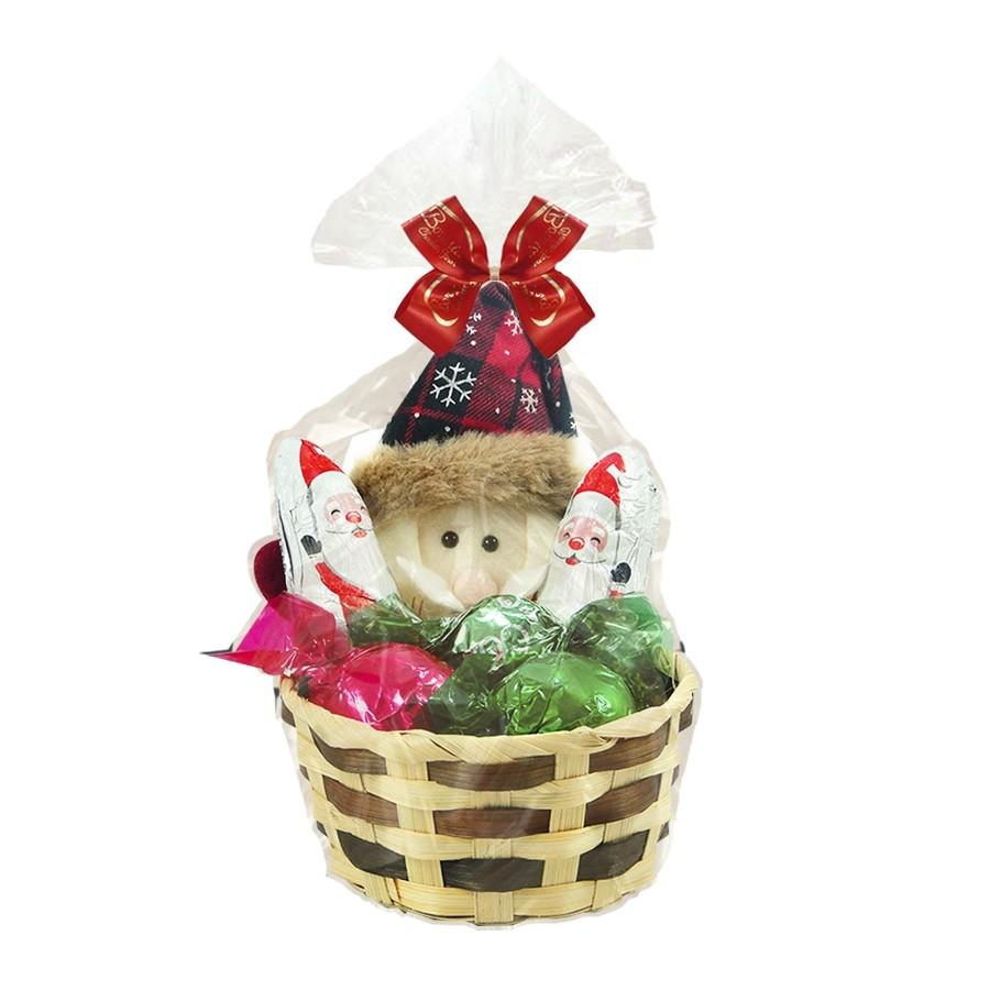 Cestinha de Natal Papai Noel com Chocolates Borússia Chocolates