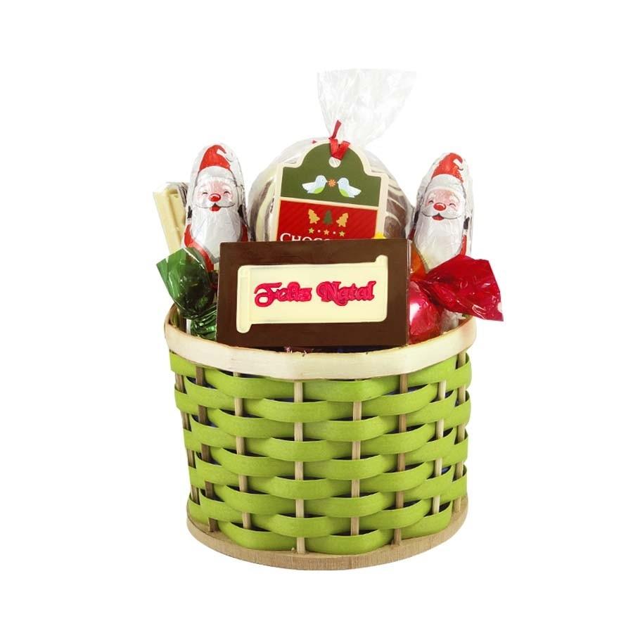 Cestinha Feliz Natal Verde com Chocolates Borússia Chocolates