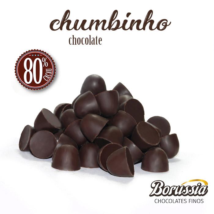 Chumbinho Chocolate 80% Cacau 120g Borússia Chocolates