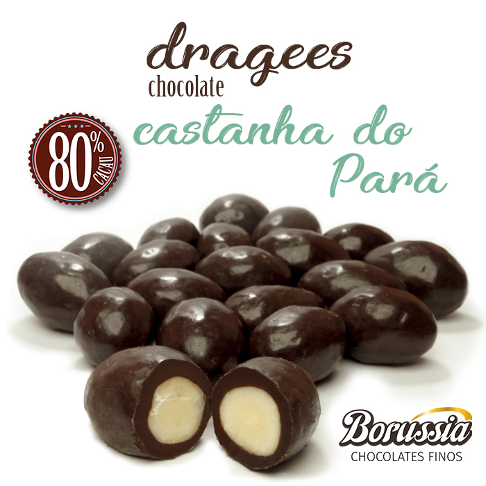 Confeito Castanha do Pará com Chocolate 80% Cacau 120g Borússia Chocolates