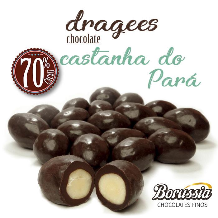 Confeito Castanha do Pará com Chocolate 70% Cacau Borússia Chocolates