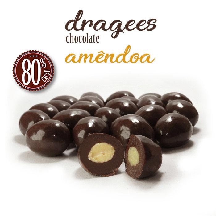 Confeito de Amêndoa com Chocolate 80% Cacau 120g Borússia Chocolates